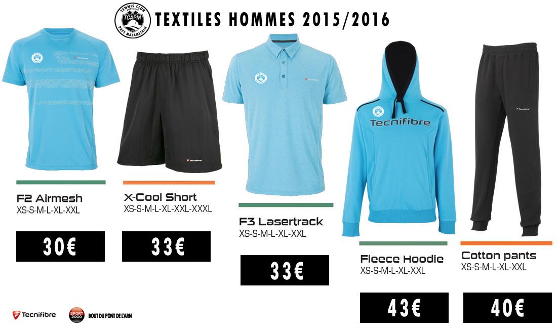 TCAPM - TEXTILES HOMMES 2015-2016