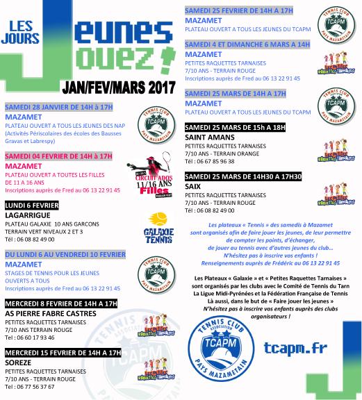 TCAPM - Plateaux jeunes Jours Jeunes janv fev mars 2017