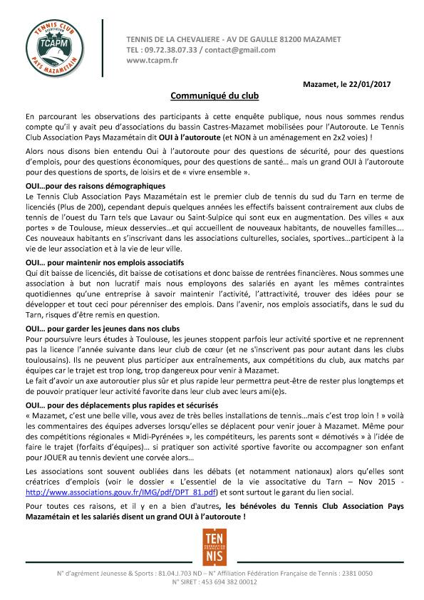Microsoft Word - TCAPM - Communiqué oui À l'autoroute.doc